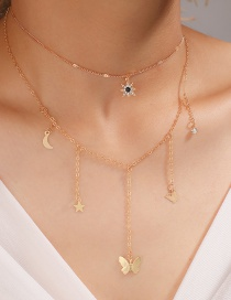 Fashion Golden Star Moon Butterfly Alloy Multilayer Necklace