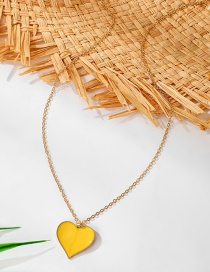 Fashion Yellow Drop Oil Love Heart Pendant Alloy Necklace