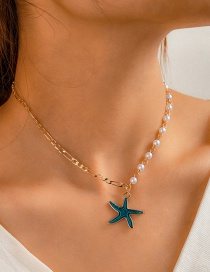 Fashion Golden Pearl Stitching Oil Drop Starfish Alloy Necklace