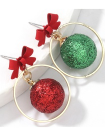 Fashion Red Green Ball Alloy Painted Bowknot Resin Red And Green Ball Asymmetric Earrings