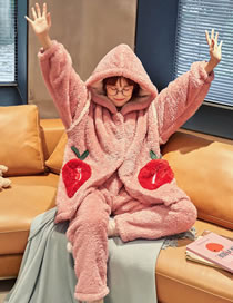 Fashion Pink Coral Fleece Nightgown Set With Hooded Animal Cardigan