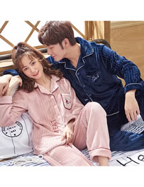 Fashion Bean Paste Blue (female) Cardigan Coral Fleece Couple Pajamas Home Service Suit
