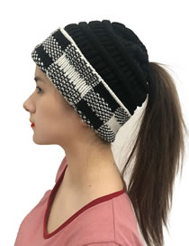 Fashion Black+white Grid Lattice Curled Knitted Beanie