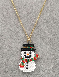 Fashion White Rice Bead Woven Handmade Beaded Christmas Snowman Stainless Steel Necklace