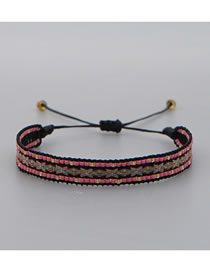 Fashion Purple Handmade Rice Beads Woven Pattern Webbing Bracelet