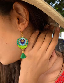 Fashion Green Rice Beads Braided Peacock Feather Earrings