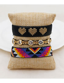 Fashion Set Price Mixed Color Rice Beads Braided Geometric Love Heart Bracelet With Diamonds