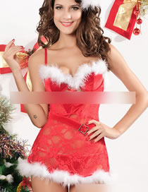 Fashion Red See-through Lace With Belt Christmas Outfit Sexy Lingerie