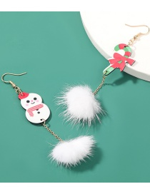 Fashion Snowman Cane Feather Resin Christmas Cane Snowman Feather Earrings