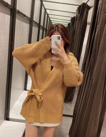 Fashion Brown Bow Tie Belt Knitted Jacket