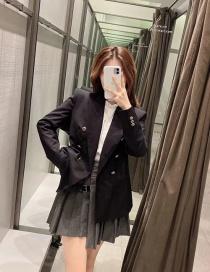 Fashion Black Double-breasted Slim-fit Blazer