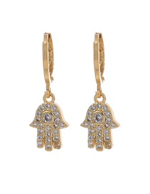 Fashion Gold Color Palm Copper Inlaid Zircon Palm Earrings