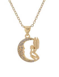 Fashion Gold Color Crescent Angel Copper Inlaid Zircon Crescent Angel Necklace