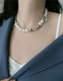 Fashion White Thick Chain Pearl Stitching Letter Necklace