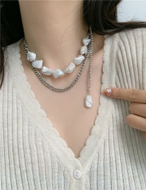 Fashion Silver Shaped Pearl Alloy Multilayer Necklace