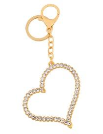 Fashion Golden Love Car Keychain Pendant With Rhinestones