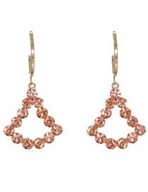 Fashion Pink Full Diamond Geometric Star Alloy Earrings