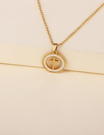 Fashion Golden Stainless Steel Geometric Cross Pendant Necklace