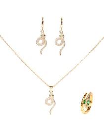Fashion Suit Diamond Snake-shaped Pendant Necklace Earrings Ring Set