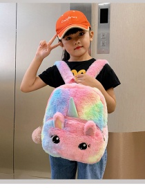 Fashion Pink Unicorn Plush Contrast Color Backpack