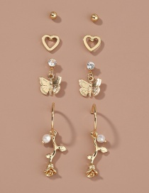 Fashion Gold Color Butterfly Flower Diamond Alloy Love Earring Set