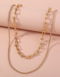 Fashion Gold Color Twist U-shaped Chain Multilayer Necklace