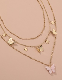 Fashion Pink Star Butterfly Resin Alloy Multilayer Necklace