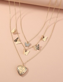Fashion Gold Color Butterfly Heart Pendant Multilayer Necklace