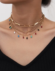 Fashion Gold Color Round Bead Geometric Water Drop Tassel Multilayer Necklace