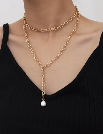 Fashion Gold Color Chain Baroque Shaped Imitation Pearl Tassel Necklace