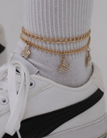 Fashion Gold Color Micro Diamond Geometric Alloy Butterfly Anklet