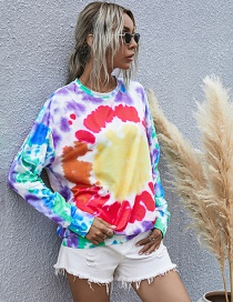 Fashion Yellow Printed Round Neck Long-sleeved Tie-dye Sweatshirt