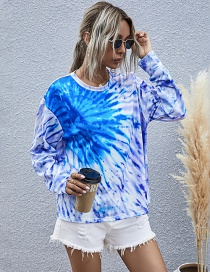Fashion Blue Purple Printed Round Neck Long-sleeved Tie-dye Sweatshirt