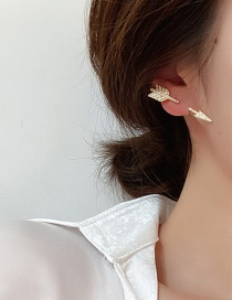 Fashion Gold Color Micro-set Zircon Cupids Arrow Earrings