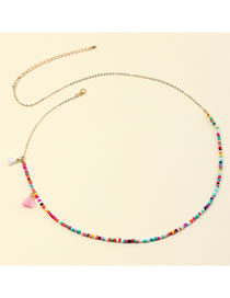 Fashion Color Tassel Rice Beads Beaded Contrast Alloy Waist Chain