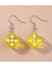 Fashion Yellow Three-dimensional Dice Resin Alloy Earrings