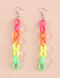 Fashion Round Color Geometric Square Resin Chain Earrings