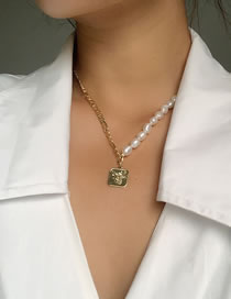 Fashion Gold Color Freshwater Pearl Chain Geometric Necklace