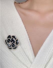 Fashion Black Camellia Pearl Alloy Brooch