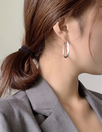 Fashion Silver Color Color Brass Irregular Round Earrings