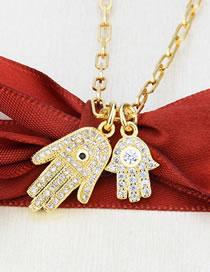 Fashion Gilded Diamond Size Palm Tag Necklace