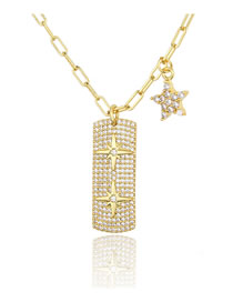 Fashion Gilded Full Diamond Five-pointed Star Geometric Tag Necklace
