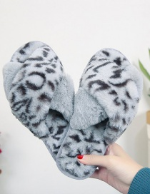 Fashion Gray Single Leopard Cross Plush Cotton Slippers