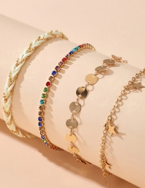 Fashion Gold Color Round Piece Five-pointed Star Tassel Diamond Alloy Multilayer Anklet