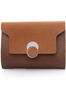 Fashion Brown Frosted Contrast Color Flip Wallet