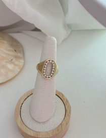 Fashion Round Glossy Pearl Love Round Hollow Ring