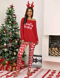 Fashion Star Letter Printing Home Service Long Sleeve Women Suit