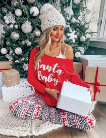 Fashion Red Deer Letter Printing Home Service Long Sleeve Women Suit