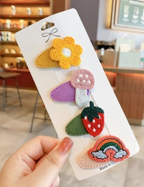 Fashion Strawberry Series Knitted Fruit Animal Hit Color Alloy Hairpin For Children