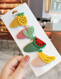 Fashion Cartoon Fruit Series Knitted Fruit Animal Hit Color Alloy Hairpin For Children